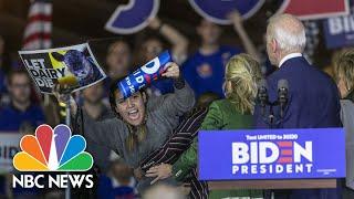 See Vegan Protesters Rush Stage During Joe Biden's Speech | NBC News