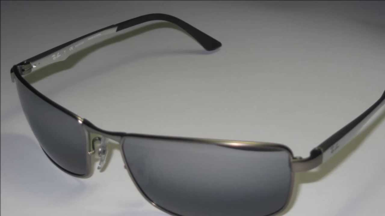 835932a5496 Ray Ban RB3498 Mat Gunmetal Silver Polarized Sunglasses - YouTube