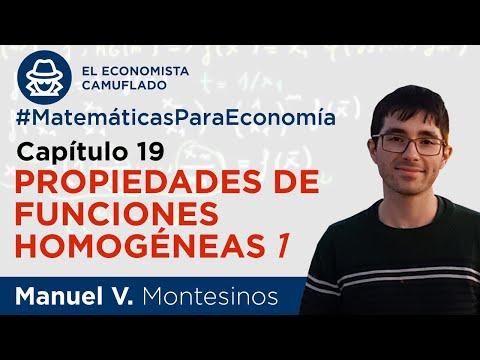 MATEMÁTICAS PARA ECONOMÍA. CAPÍTULO 19: PROPIEDADES DE FUNCIONES HOMOGÉNEAS (I)