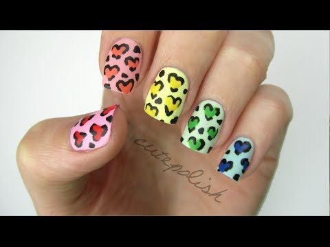 Rainbow Heart Leopard Nails