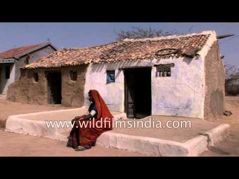Indian salt desert - mud hut, fort and Camels in Rann of Kutch