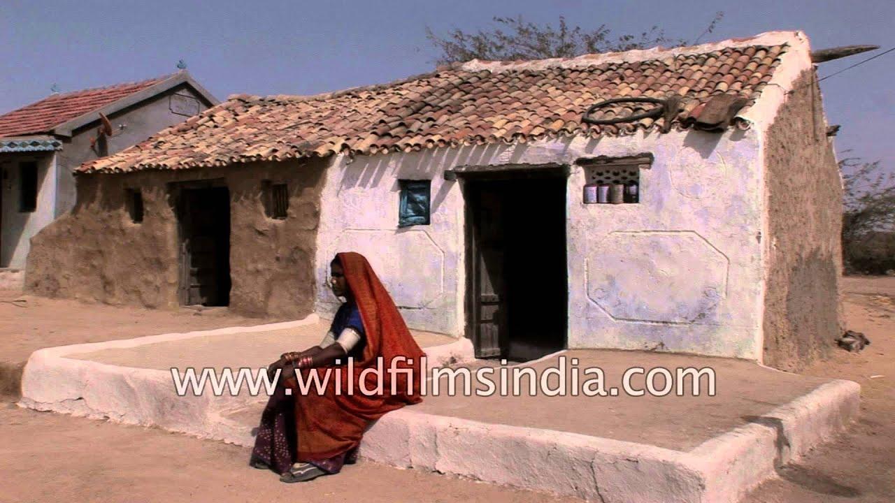 Indian salt desert mud hut in rann of kutch