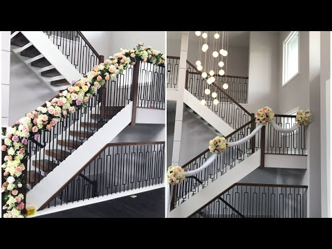 DIY- Staircase floral Decor Diy- Wedding Decor