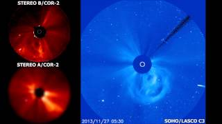 Comet ISON approaches the Sun - STEREO A, B & SOHO - November 26-28th, 2013