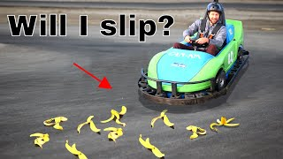 Do Banana Peels Really Make You Slip in a Go-Kart Race?