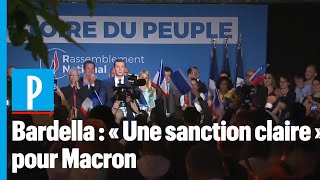 Jordan Bardella : la victoire du RN,  « une sanction claire  » pour Macron