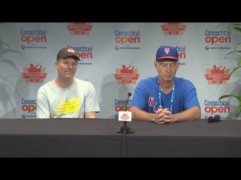 John McEnroe, Jim Courier post-match