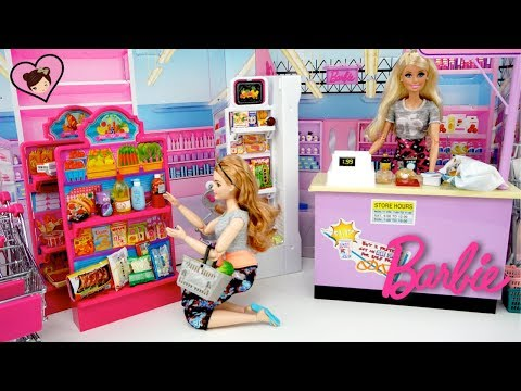 Barbie Doll Grocery Store Supermarket with Dollhouse Miniature Food