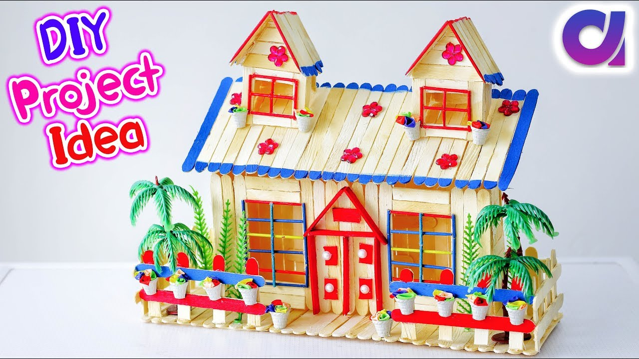Diy Popsicle Stick House Building Kids Crafts Artkala 430 Youtube