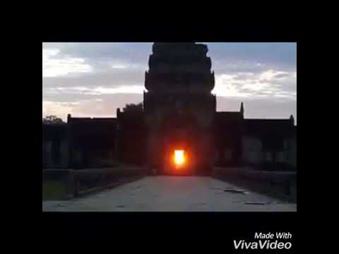 Angkor Wat Sunset through the Gateway -Amazing Ancient Architecture of Khmer Empire