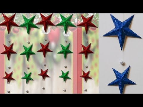 Easy 3D paper star hanging for Christmas | DIY Christmas crafts | paper star