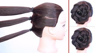 new rose bun hairstyle with trick || flower bun || wedding hairstyle || easy hairstyles || hairstyle