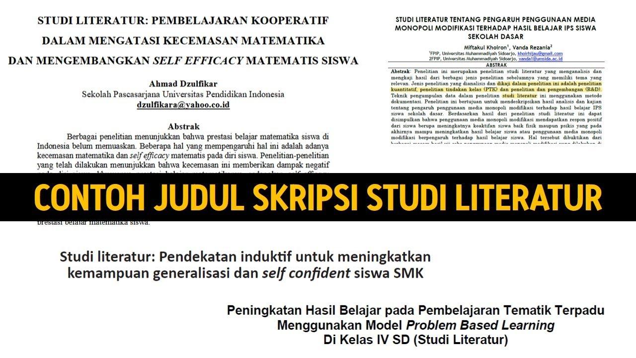 Contoh Judul Skripsi Studi Literatur Youtube