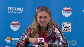 Aliaksandra Sasnovich press conference (QF) | Brisbane International 2018