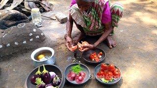 My Grandma's Cooking Brinjal Masala Recipe in My Village | Eggplant Recipe | STREET FOOD