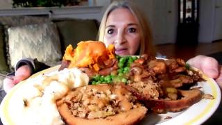 mukbang eating show happy thanksgiving vegan mama mi plant based