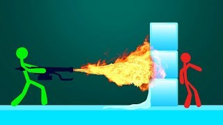MELTING ICE WITH FLAMETHROWERS! (Stick Fight)