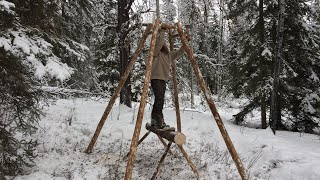 Solo Winter Bushcraft Shelter Build - Buildling a Log Home in the Canadian Wilderness Pt. 1