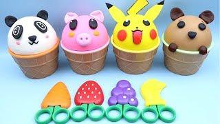 4 Colors Play Doh Ice Cream Cups Baby Panda Pikachu Pj Masks Surprise Toys Shopkins Surprise Eggs
