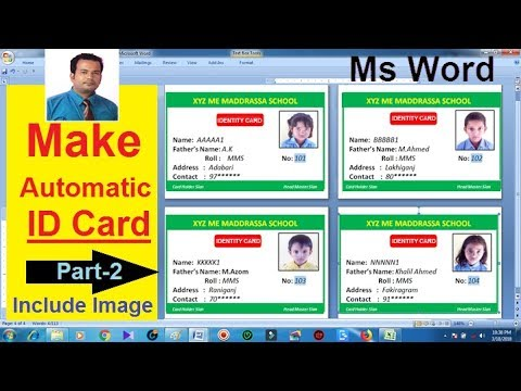 Automatic ID Card Creation in Microsoft word Part-2 | includes picture