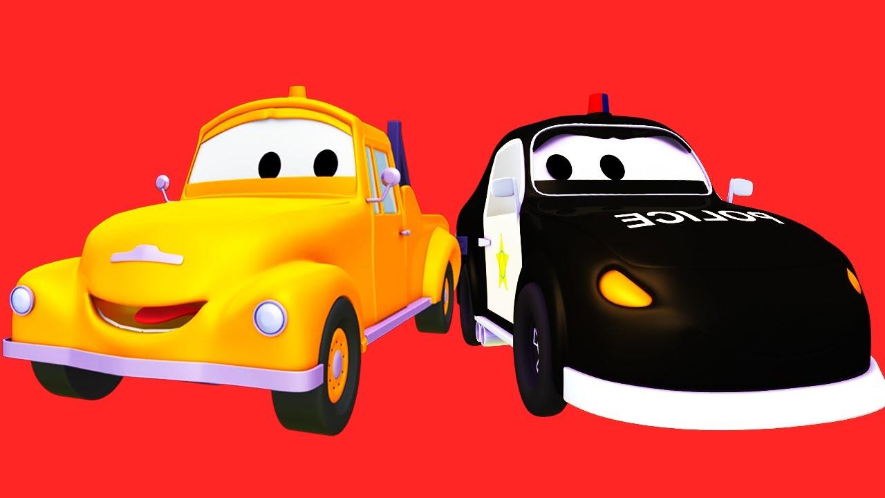 Đội xe tuần tra : xe cứu hỏa cùng với xe cảnh sát và xe máy cày, xe lửa ở thành phố xe | Phim hoạt
