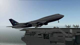 how to land a boeing 747 on a moving aircraft carrier on x plane 9