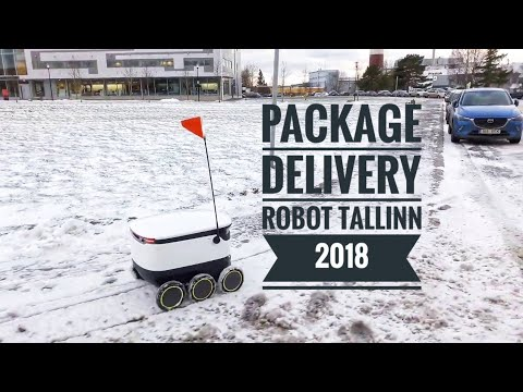 Package delivery robot in Tallinn , winter 2018
