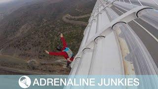 Adrenaline Junkies Slide And Jump Off Bridge