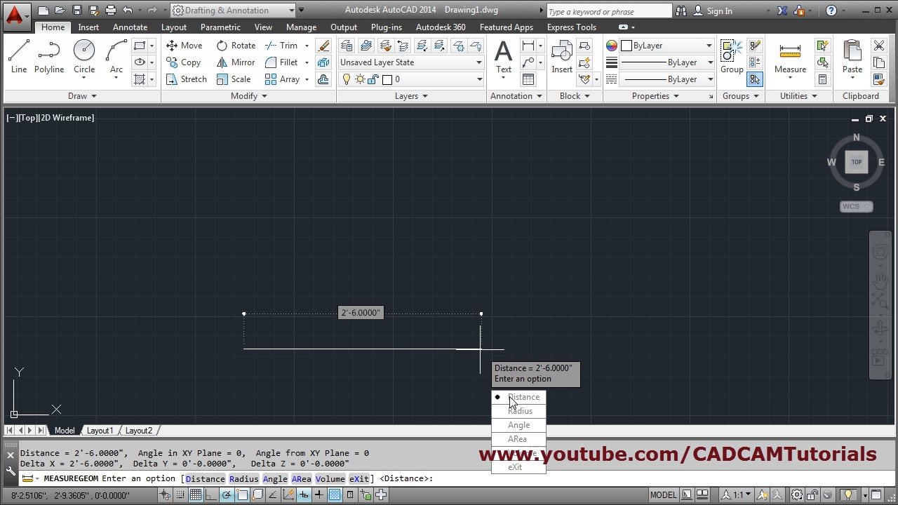 Line Drawing In Autocad : Autocad draw line in feet inches youtube