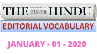 01-01-2020 || HINDU EDITORIAL VOCABULARY ANALYSIS TODAY IN TAMIL || WITH NEW YEAR UPDATE 2020 ||