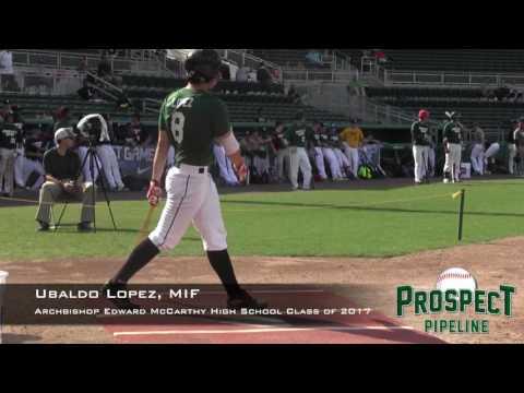 Ubaldo Lopez Prospect Video, SS, Archbishop Edward McCarthy high school class of 2017