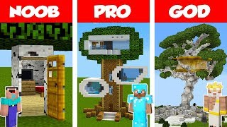 Minecraft NOOB vs PRO vs GOD: Modern Tree House CHALLENGE in Minecraft / Animation thumbnail
