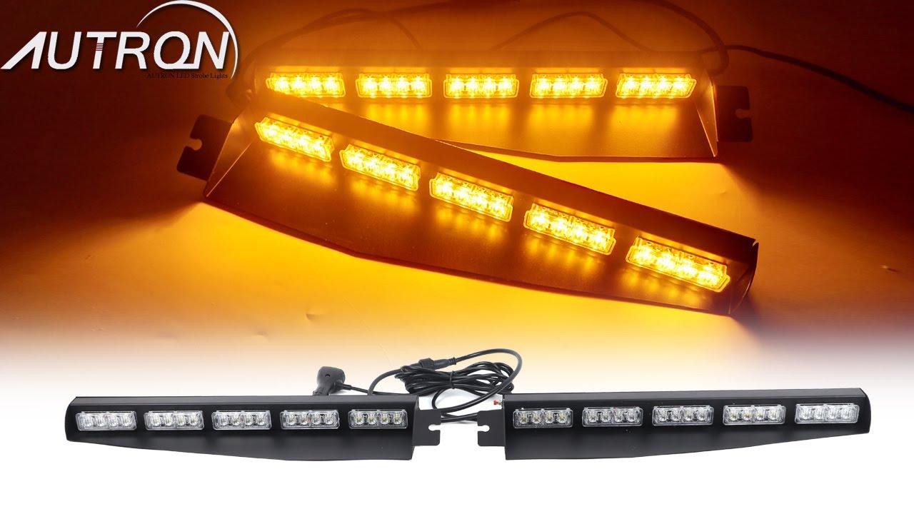 """34/"""" Amber White LED Emergency Warning 18 Modes Strobe Visor Deck Split Light Bar"""