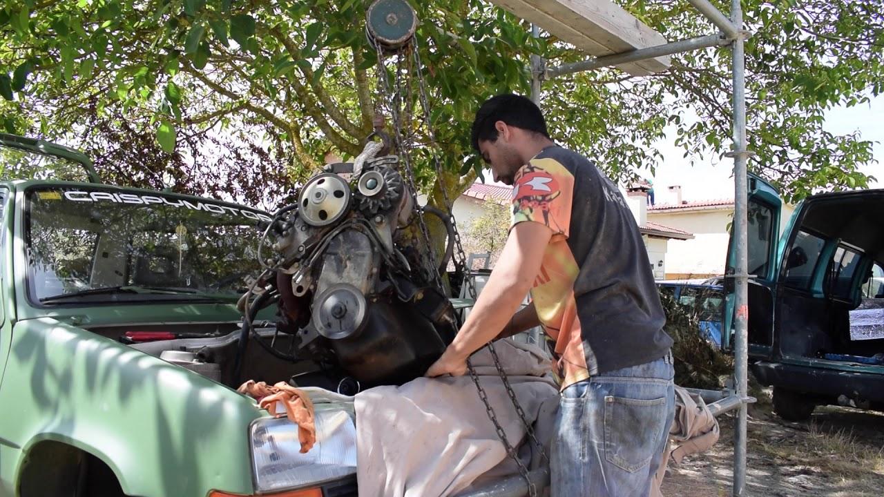 saco el motor del Renault 5 five con un andamio de obra!!