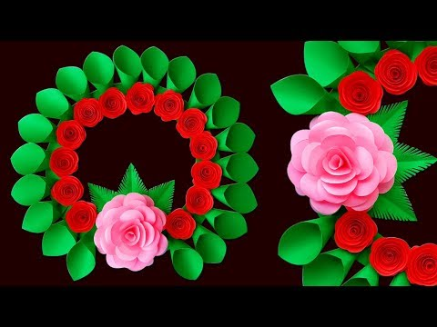 Diy Paper Flower Wall Hanging | Paper Rose Wall Hanging | Beautiful Paper Wall Craft Ideas