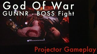 God Of War PS4 - GUNNR Boss Fight [Projector Gameplay with Rage Commentary]