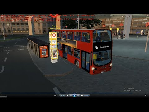 omsi 2 tour (1148) London bus N9 Stamford Brook - KENSINGTON PALACE - Trafalgar Square @ volvo B9TL