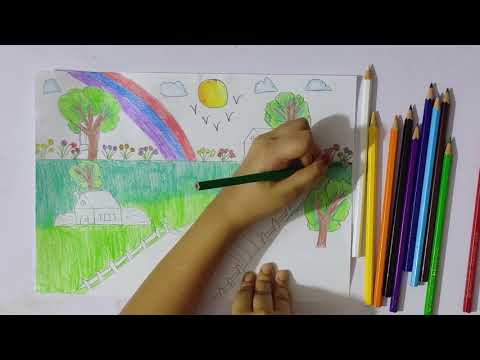 Scenery drawing/Easy and beautiful landscape pencil drawing/Easy and Beautiful village sketch