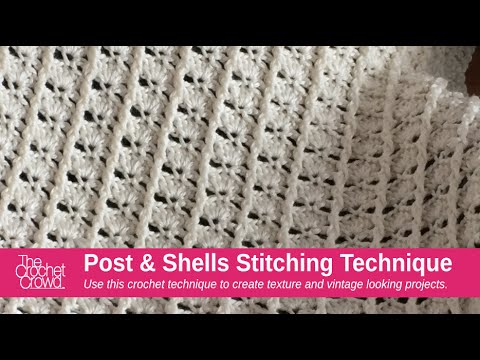 How to Crochet Post & Shells Stitch Left Handed - YouTube