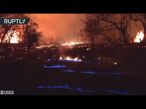 Fire in Hawaii burns blue due to methane gases