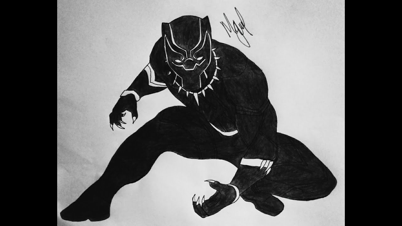 how to draw black panther from civil war