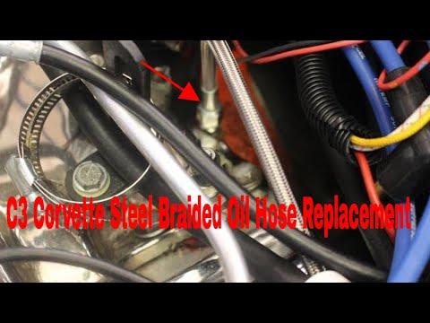 C3 Corvette Oil Gauge Pressure Hose Install (Steel Braided Oil Hose)