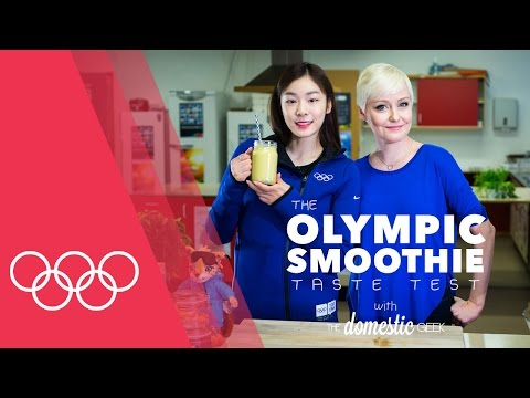 Yuna Kim's tropical smoothie | Smoothie Taste Test with Domestic Geek at the Youth Olympics