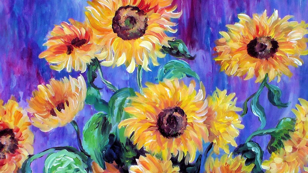 How To Paint Monet S Sunflowers In Acrylic Using A Guided