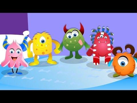 Five Little Monsters Nursery Rhyme with Lyrics Halloween Song Kids Tv Nursery Rhymes S01EP120