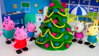 Play Doh Peppa Pig Christmas Tree - How To Make Christmas with Play Doh