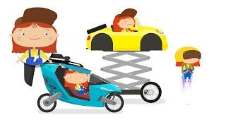 Ein fliegendes Auto-cartoon. Baufahrzeuge mit Dr. McWheelie. Eine Familie cartoon.
