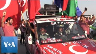 "People in Akcakale, Turkey Celebrate ""Fall"" of Tel Abyad in Northeast Syria to Turkish Forces"