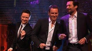 Hugh Jackman, Michael Fassbender & James McAvoy dance to Blurred Lines - The Graham Norton Show thumbnail