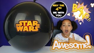 Giant Balloon Star Wars Toy Surprise | Kinder Surprise Eggs - Popping Candy - Disney Wikkeez